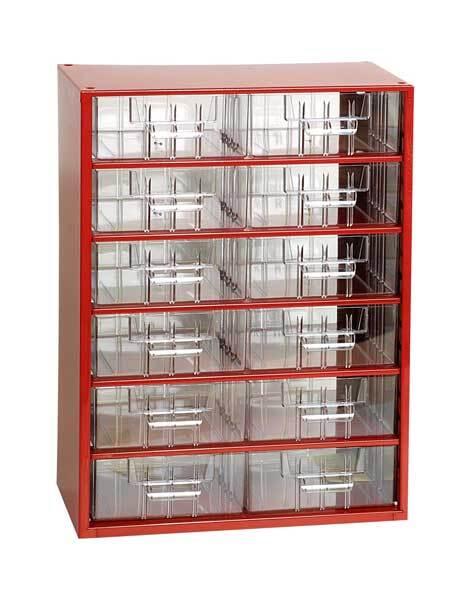 Box na nářadí MEDIUM – 12xB, červená barva - Mars 6706C