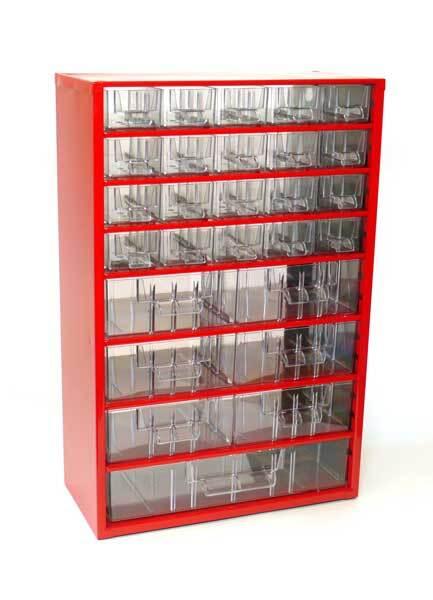 Box na nářadí MEDIUM – 20xA, 6xB, 1xC, červená barva - Mars 6720C