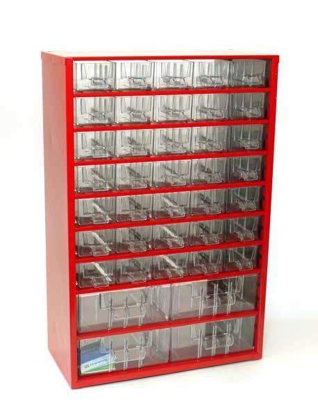 Box na nářadí MEDIUM - 35xA, 4xB, červená barva - MARS 6743C