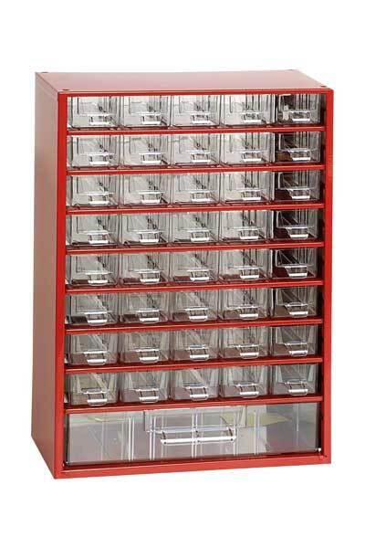 Box na nářadí MEDIUM - 40xA, 1xC, červená barva - MARS 6703C