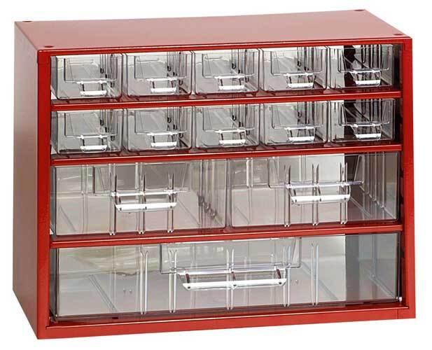 Box na nářadí MINI - 10xA, 2xB, 1xC, červená barva - MARS 6761C