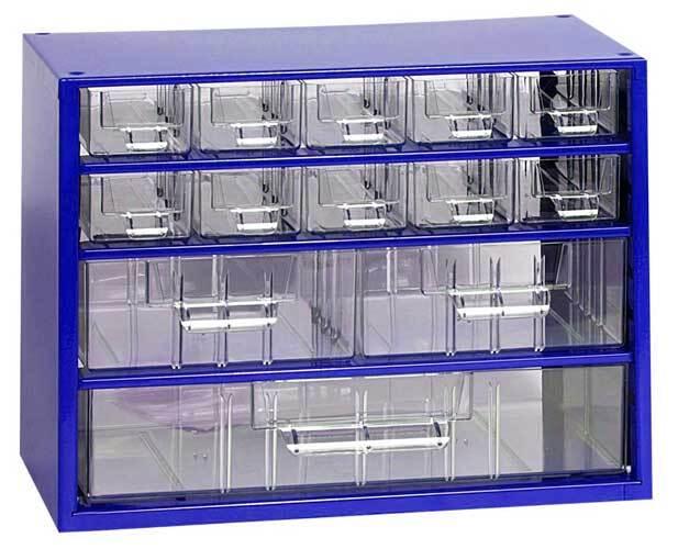 Box na nářadí MINI - 10xA, 2xB, 1xC, modrá barva - MARS 6761M