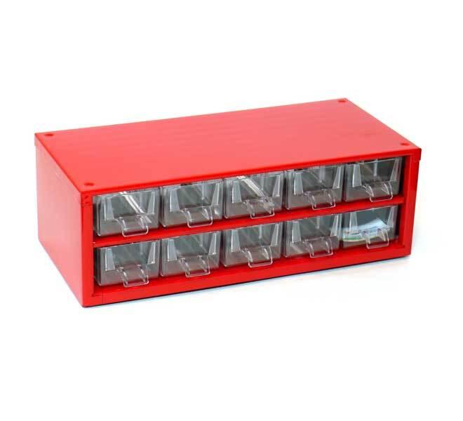 Box na nářadí MINI – 10xA, červená barva - Mars 6737C
