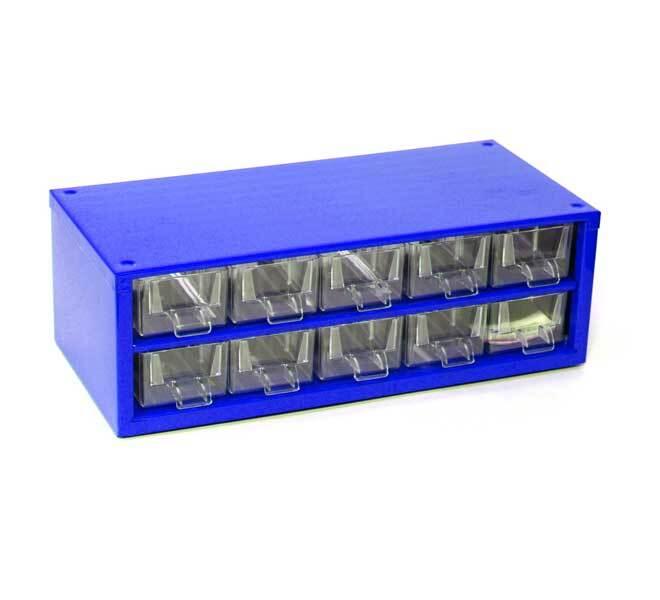 Box na nářadí MINI – 10xA, modrá barva - Mars 6737M