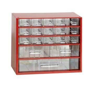 Box na nářadí MINI – 15xA, 2xB, 1xC, červená barva – MARS 6760C