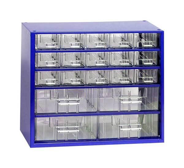 Box na nářadí MINI – 15xA, 4xB, modrá barva - Mars 6763M