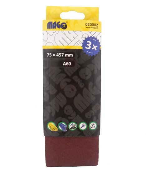 Brusný pás A80, 75 x 457 mm, sada 3 ks - MAGG 020003