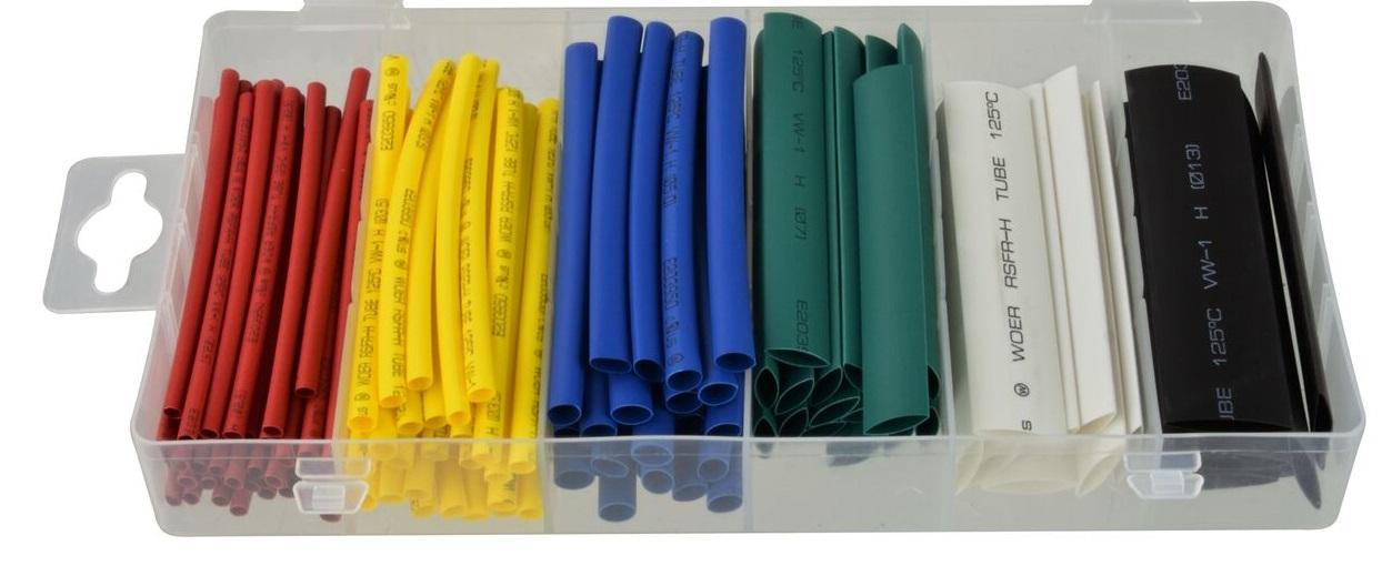 Bužírky smršťovací, délka 80 mm, různé rozměry, sada 128 kusů