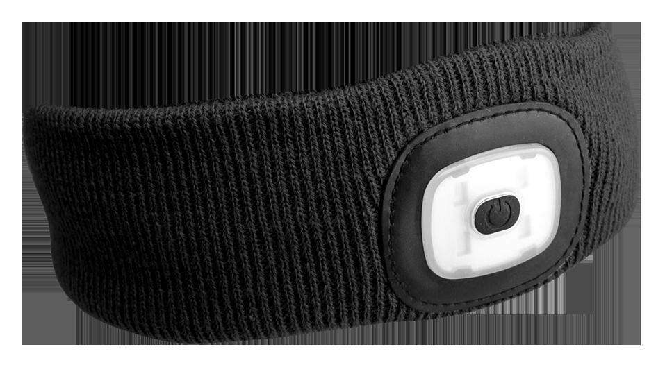 Čelenka s čelovkou 45 lm, nabíjecí, USB, univerzální velikost, černá - SIXTOL