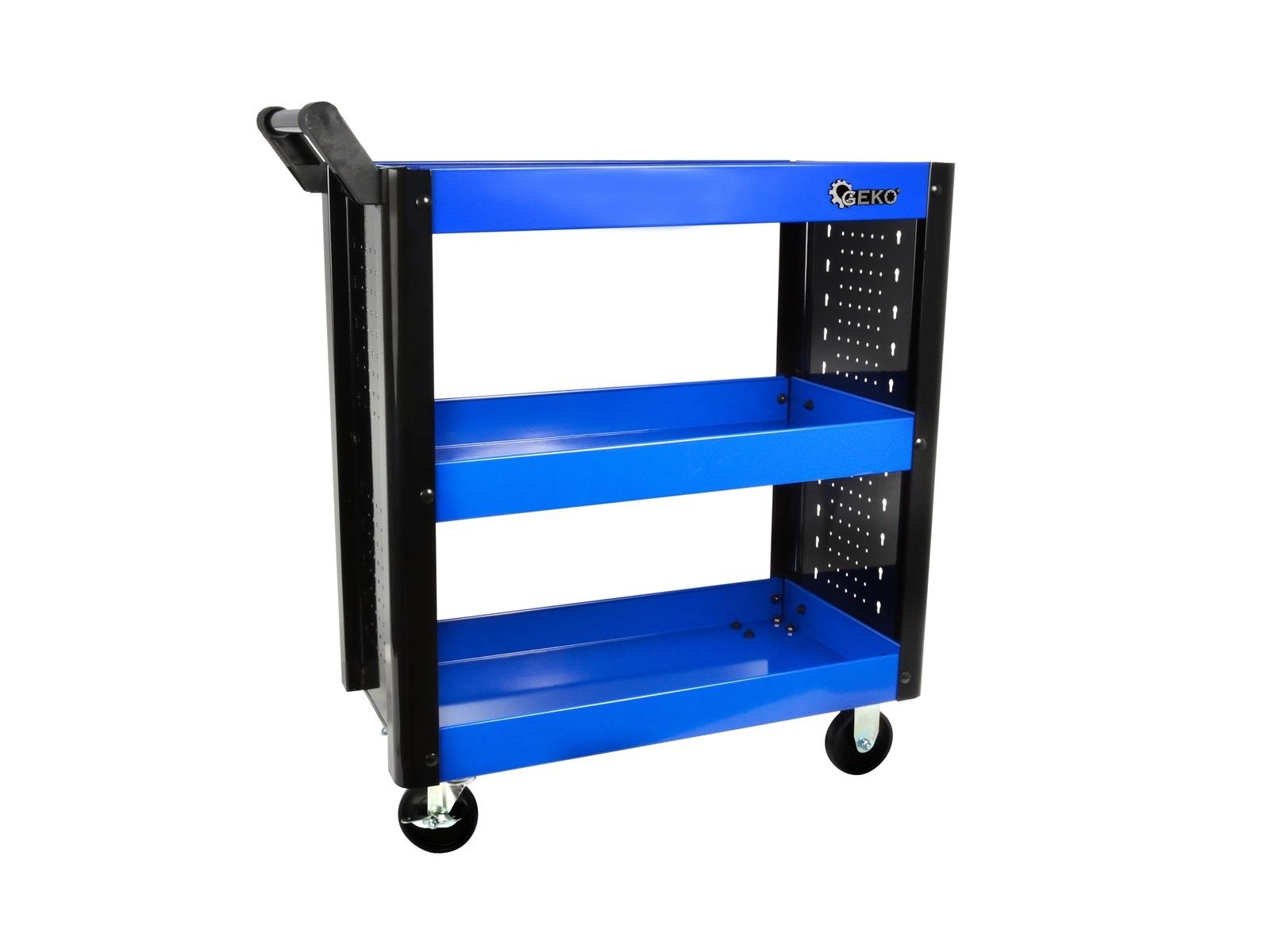 GEKO G10821 Celokovový pojízdný manipulační stolek - vozík, 3 patra