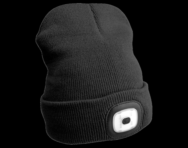 Čepice s čelovkou 45 lm, nabíjecí USB, univerzální velikost, černá - SIXTOL