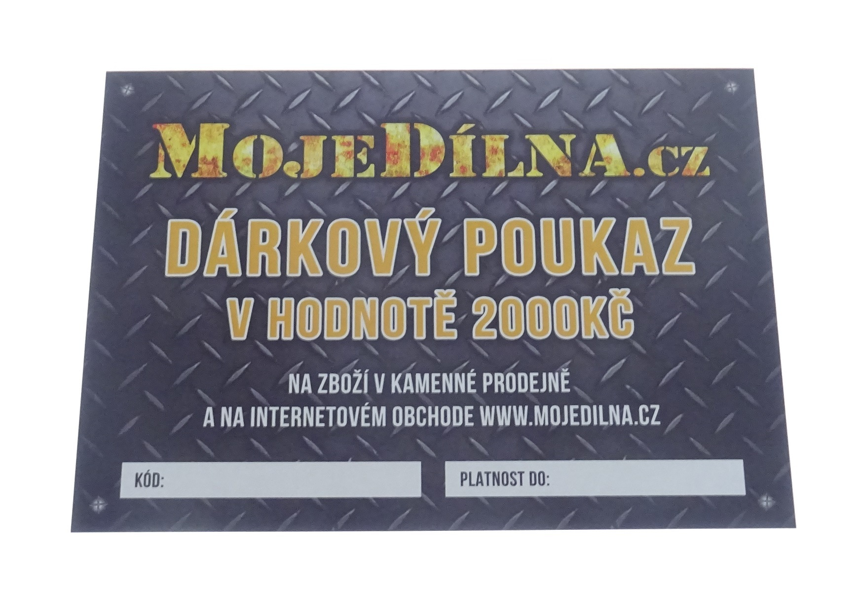 Dárkový poukaz MojeDílna.cz v hodnotě 2000 Kč - tištěný