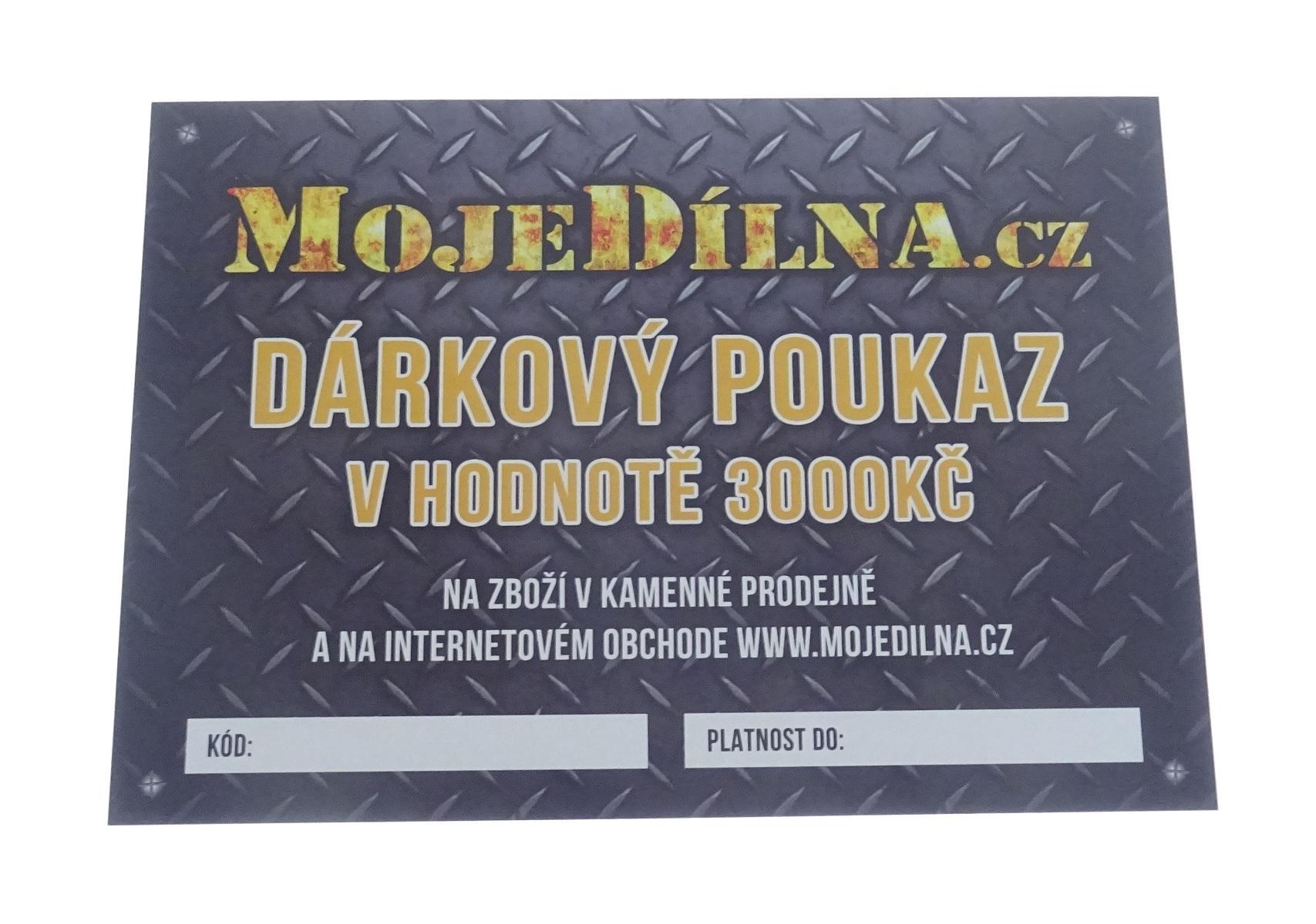 Dárkový poukaz MojeDílna.cz v hodnotě 3000 Kč - tištěný