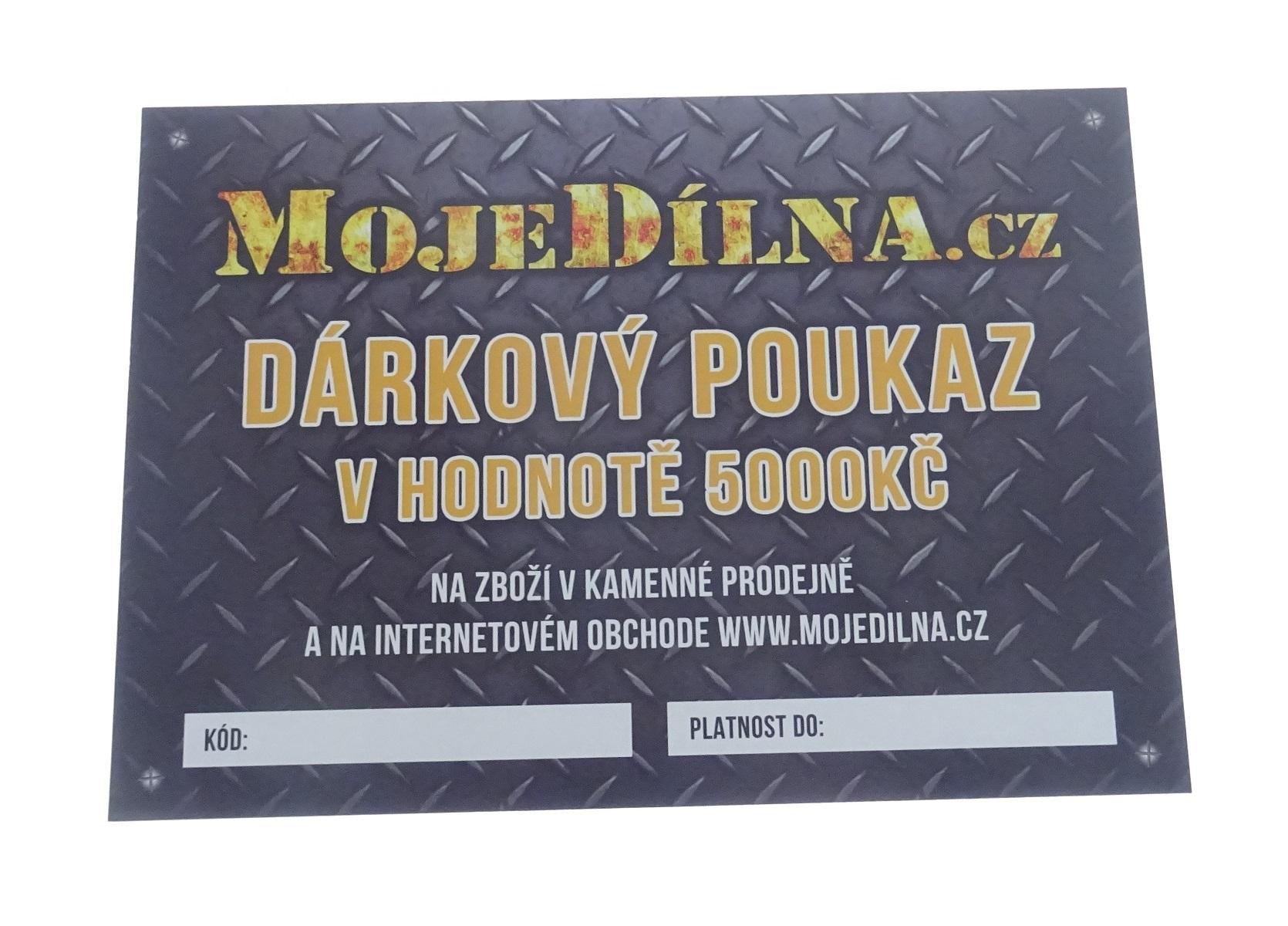 Dárkový poukaz MojeDílna.cz v hodnotě 5000 Kč - tištěný