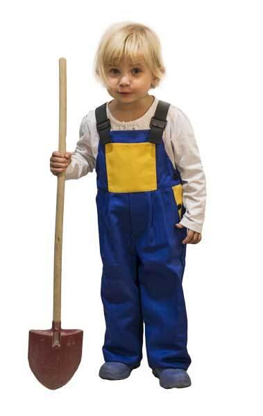 Dětské pracovní laclové kalhoty, modrožlutá barva, různé velikosti