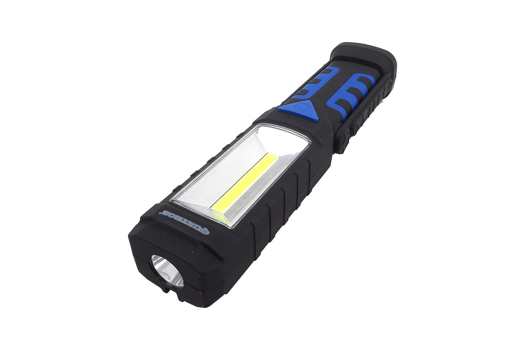 Dílenská lampa LED COB 3W+1LED, svítilna s magnetem - QUATROS QS16150A