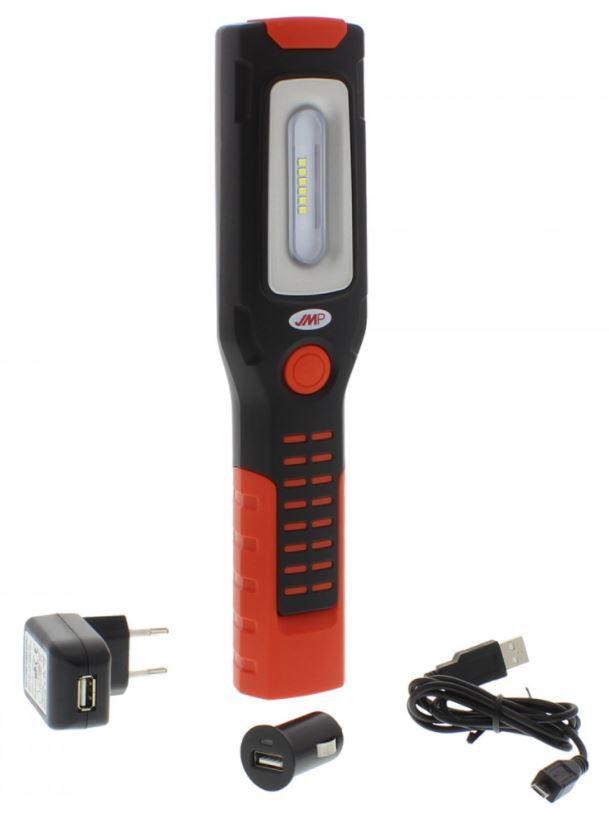 Lampa dílenská montážní LED SMD 3W, nabíjecí micro USB, ohebná, 2 háčky a magnety