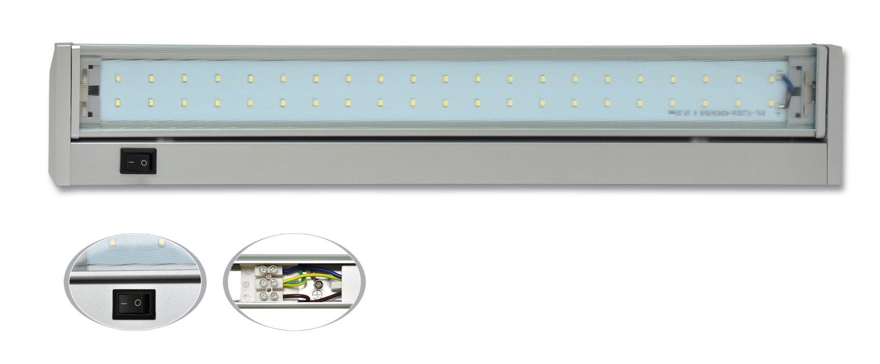 Dílenská lampa 42 x SMD,10 W, šířka 58 cm, stříbrná