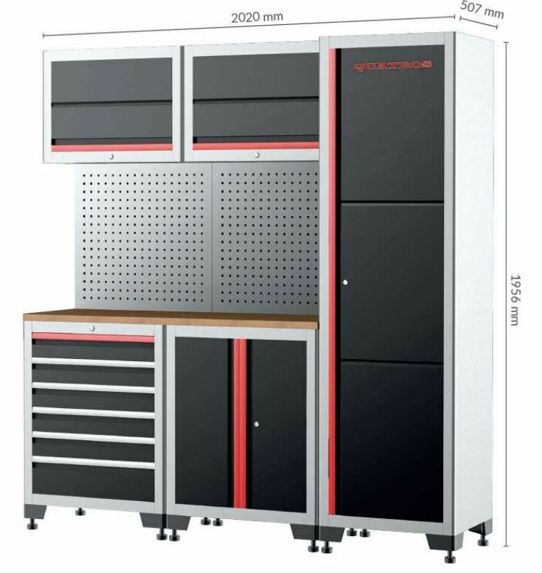 Dílenský nábytek, sestava - skříně, závěsné skříňky a děrovaná stěna - QUATROS QS17008