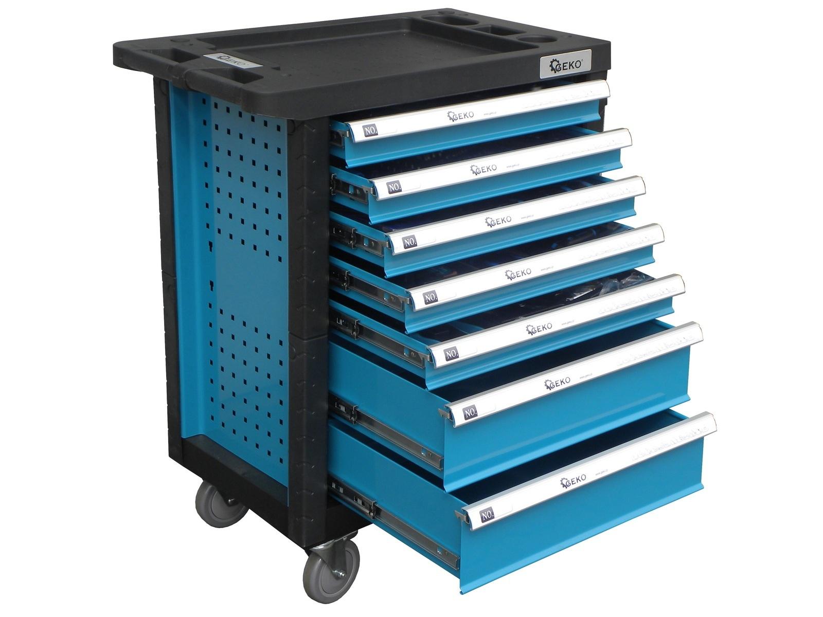 Dílenský montážní vozík, vybavený 272 ks, 7 zásuvek - GEKO G10830