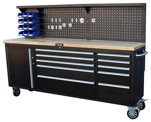 Dílenský pojízdný stůl - ponk, se skříněmi a děrovanou stěnou - ASTA