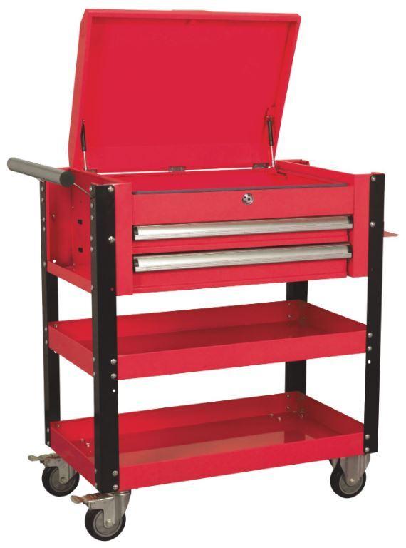 Dílenský vozík nevybavený - manipulační stolek, 2 zásuvky, 2 police a odkládací prostor