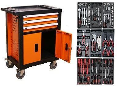 Dílenský vozík vybavený, 109 ks nářadí, 3 zásuvky a skříňka