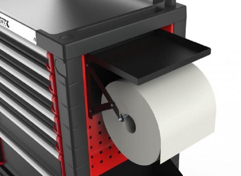 Držák, úchyt na papír v roli, k montážnímu dílenskému vozíku