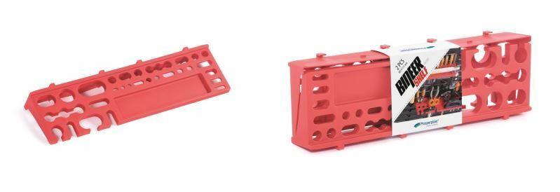 Držáky na nářadí 384 x 111 mm BINEER SHELFS, závěsné červené, sada 2 ks