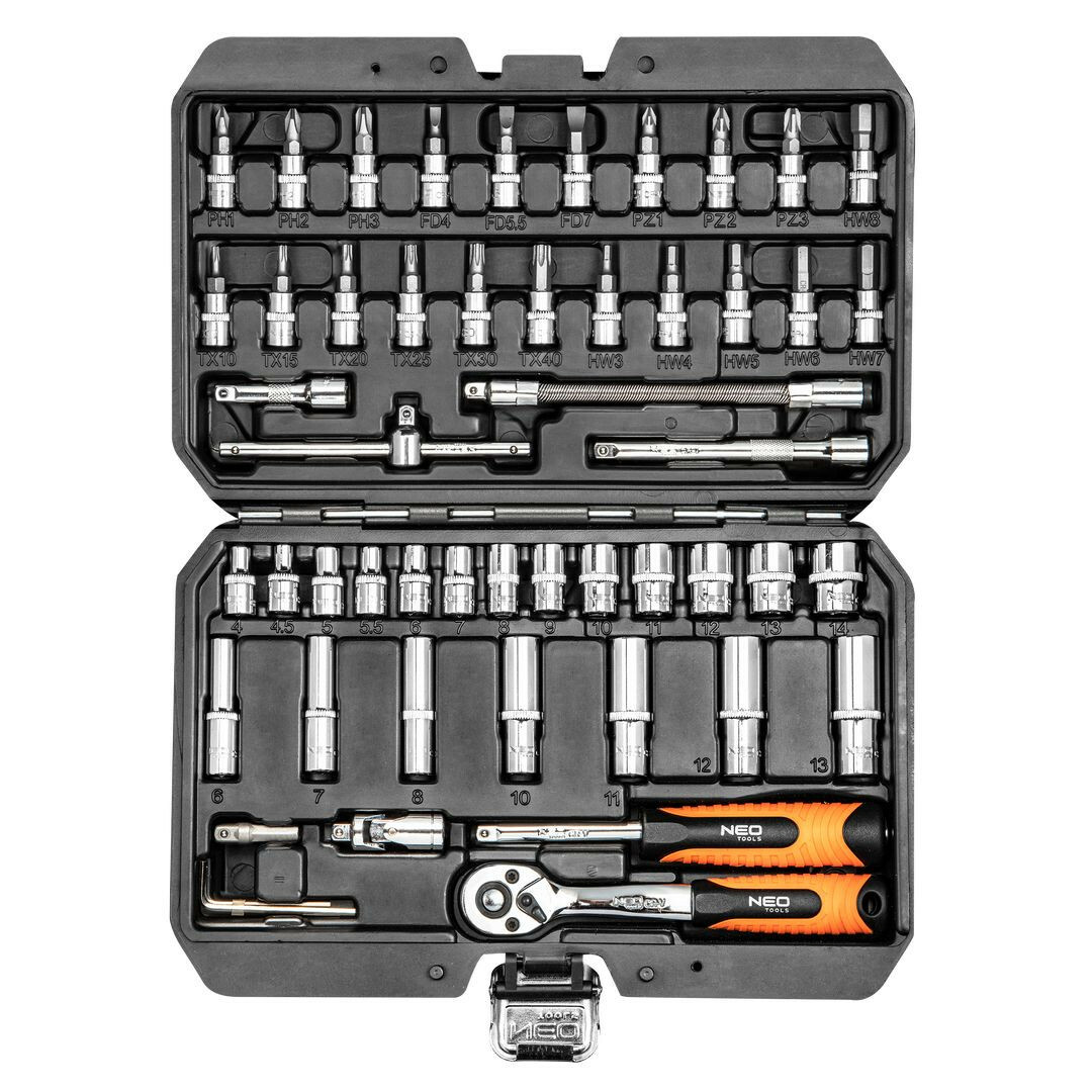"""Gola sada 1/4"""", nástrčné a zástrčné hlavice, prodloužení, ráčna, 53 ks - NEO tools 08-683"""