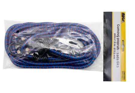 Gumové upínací popruhy - gumicuky 1.8 m x 11.5 mm, sada 6 ks