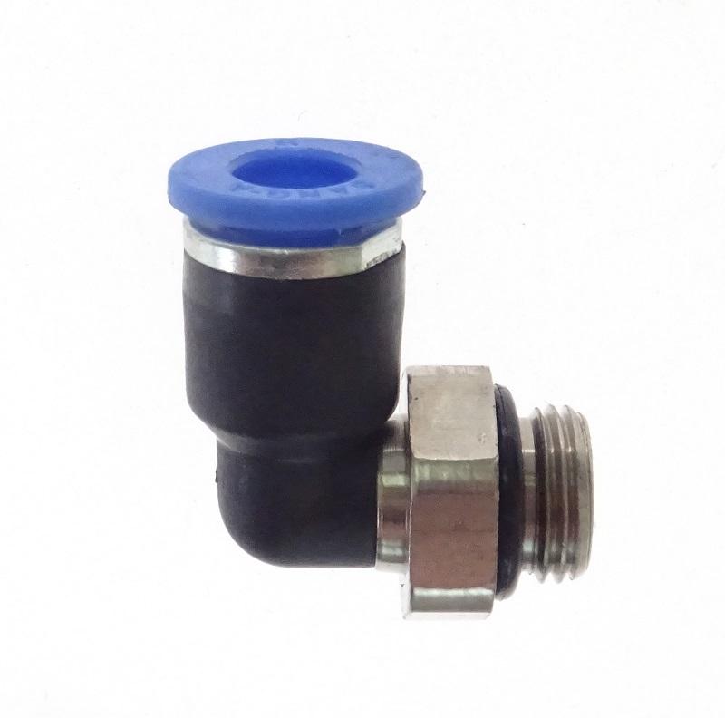 """Přípojka pneumatická zahnutá typ L - kolínko, závit 1/8"""" AG, pro hadici 6 mm"""