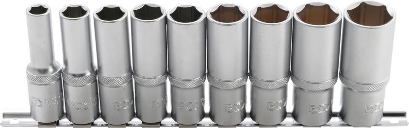 """Hlavice nástrčné 1/2"""", 6-hranné, 10-24 mm, prodloužené, 9ks - BGS 2223"""