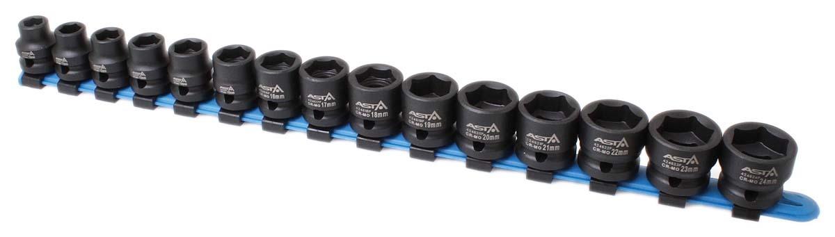 """Hlavice nástrčné úderové 1/2"""", 10-24 mm, 6hranné extra krátké 28 mm, 15 ks na liště - ASTA"""