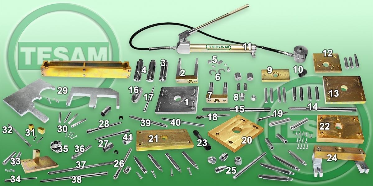Hydraulický stahovák na vstřikovače CDI, HDI, HPI, CDTI, DCI, velká sada - TESAM TS1300