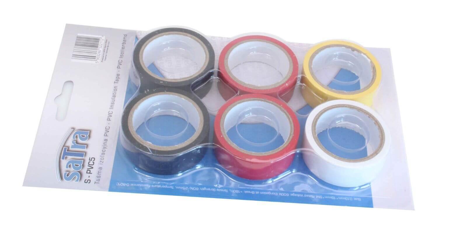 Izolační elektrikářské pásky PVC, 5 m x 19 mm, sada 6 ks - SATRA