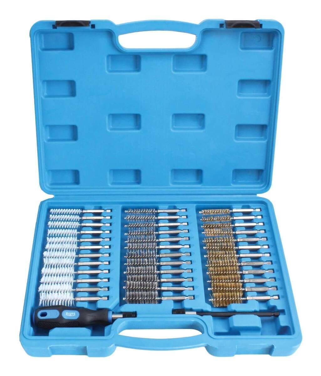 Kartáče ruční, na čištění šachet vstřikovačů, ocel, mosaz a nylon, 38 dílů - SATRA