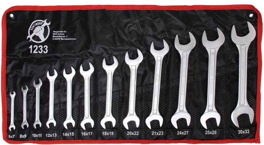 Klíče ploché otevřené, dvoustranné, 6 x 7 - 30 x 32 mm, sada 12 kusů