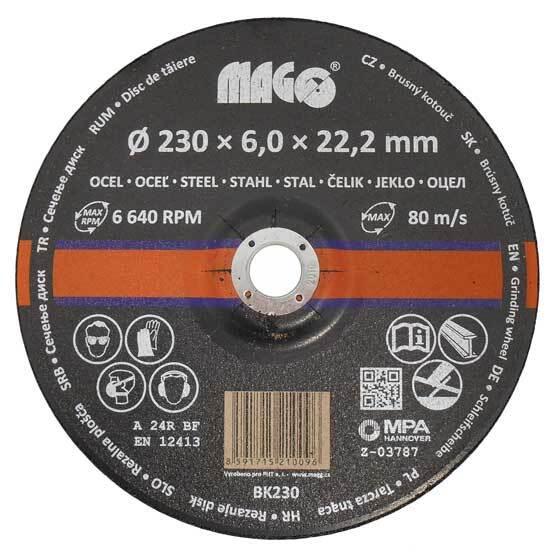 Kotouč brusný na kov 230 x 6 x 22,2 mm - MAGG BK230