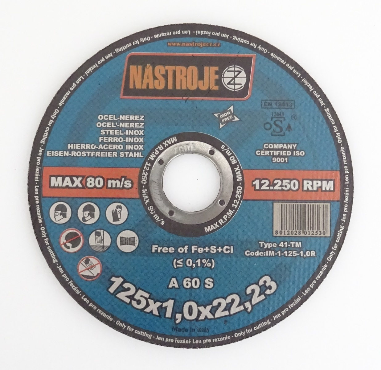 Kotouč řezný 125 x 1,0 x 22 mm, na ocel a nerez