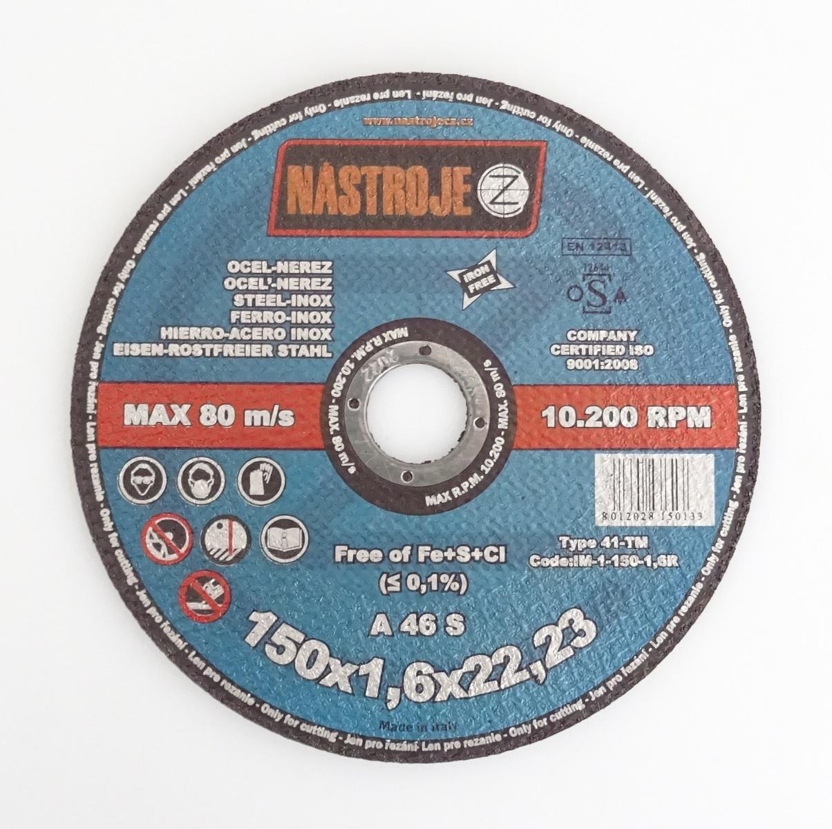 Kotouč řezný 150 x 1,6 x 22 mm, na ocel a nerez