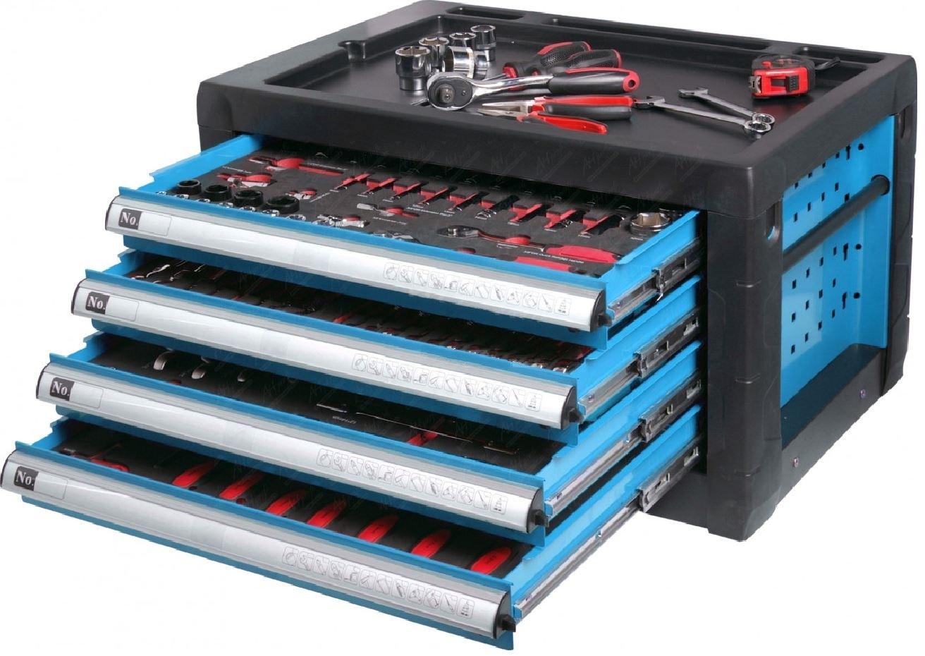 Přenosná skříňka na nářadí 690 x 460 x 405 mm,  4 zásuvky, nevybavená