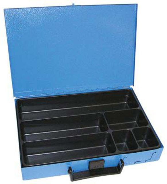 Kufr na spotřební materiál 330x230x50 mm, 6 přihrádek, plechový