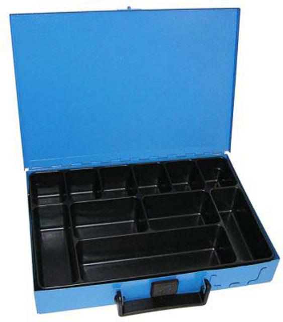 Kufr na spotřební materiál 330x230x50 mm, 11 přihrádek, plechový