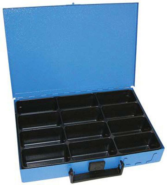 Kufr na spotřební materiál 330x230x50 mm, 12 přihrádek, plechový