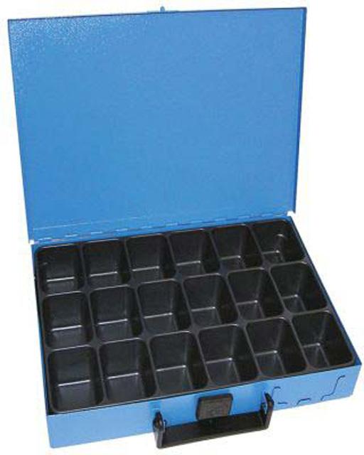 Kufr na spotřební materiál 330x230x50 mm, 18 přihrádek, plechový