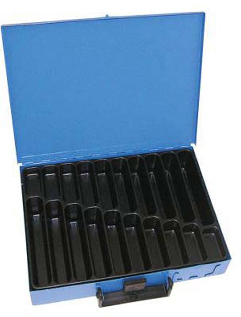 Kufr na spotřební materiál 330x230x50 mm, 20 přihrádek, plechový