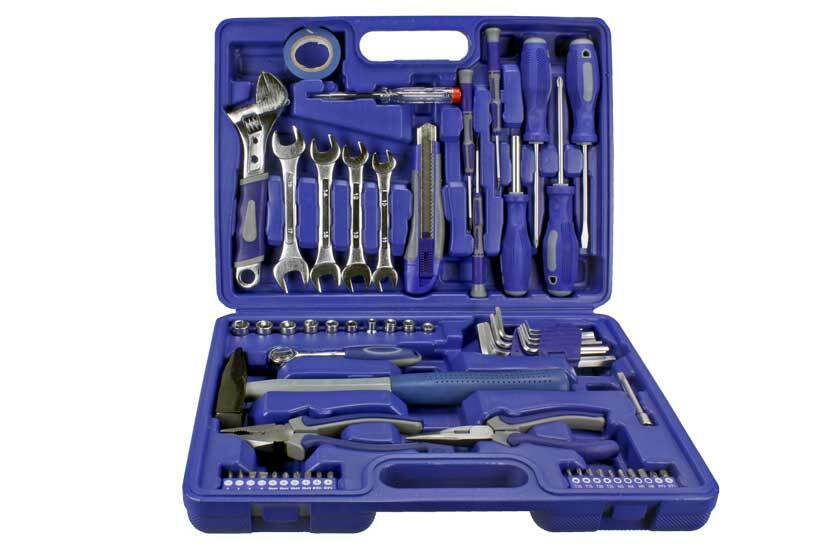 Kufr s nářadím - kladivo, kleště, šroubováky, klíče, bity, sada 59 dílů