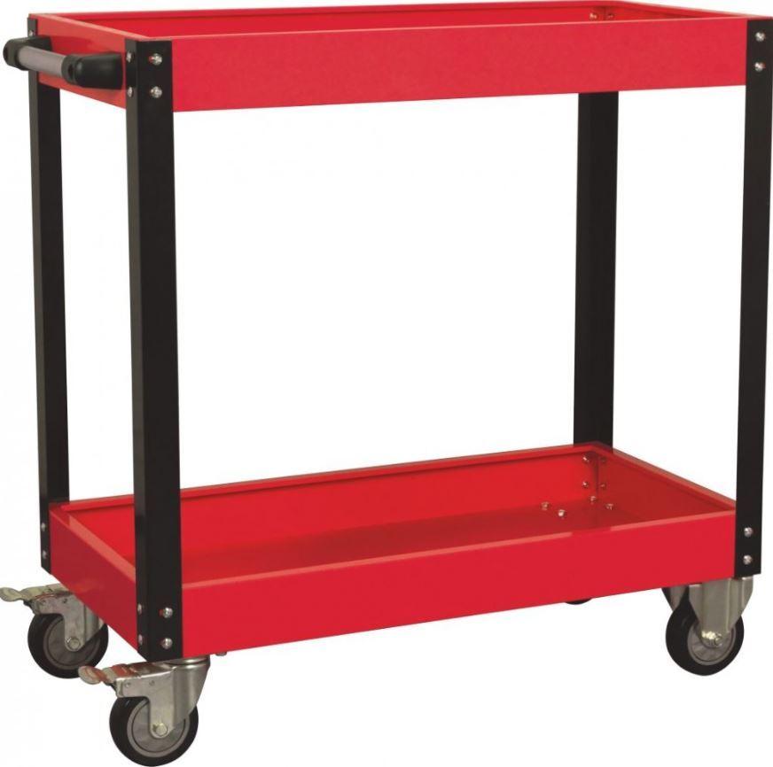 Dílenský montážní vozík - pojízdný manipulační stolek, 2 patra, s rukojetí