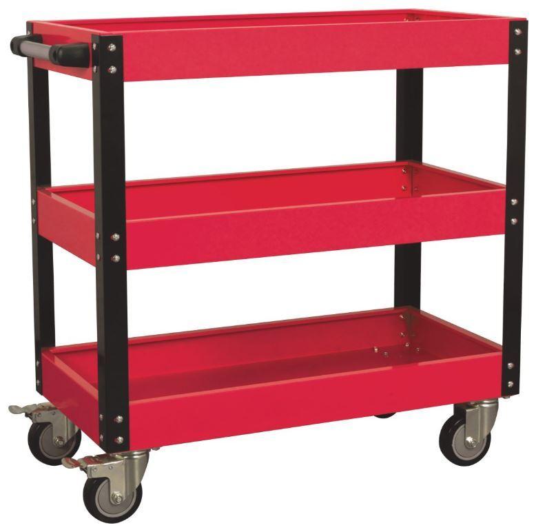 Dílenský montážní vozík - pojízdný manipulační stolek, 3 patra, s rukojetí